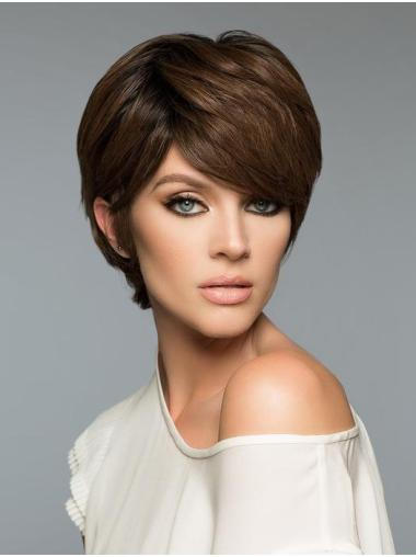 Fashion Brown Cropped Straight Boycuts Human Hair Wigs