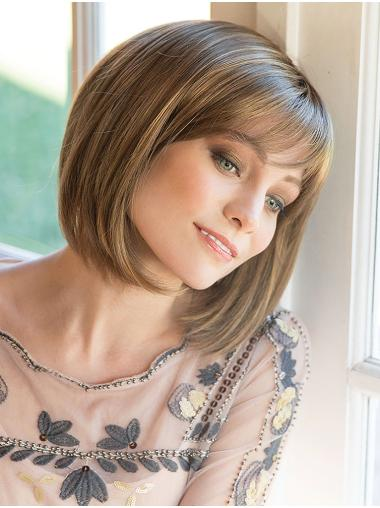 "10"" Chin Length Brown Straight Beautiful Bob Wigs"