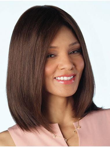 """Brown Shoulder Length 14"""" Without Bangs Cheap Human Hair Wigs"""