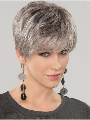 "Straight Short 8"" 100% Hand-tied Good Grey Wigs"