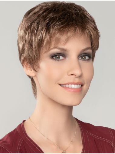"Straight Cropped 4"" Auburn 100% Hand-tied Wigs"