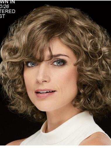 """Curly Brown Chin Length 10"""" Stylish Classic Wigs"""