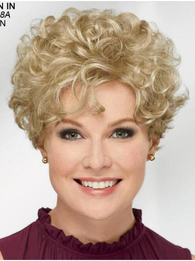 "Curly Blonde Short 8"" Trendy Classic Wigs"