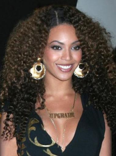 Beyonce Knowles 100% Human Hair Natural and Cool Long Kinky Curly Lace Front Wig 22 Inches