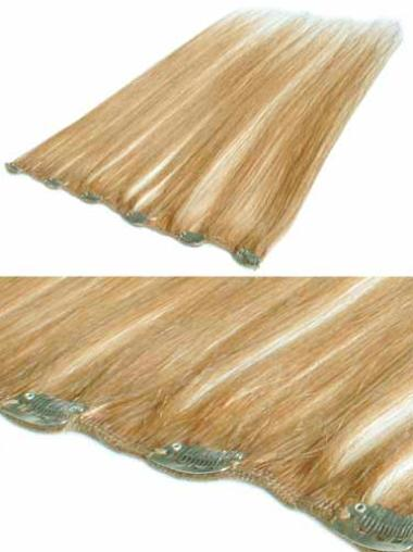 Glamorous Blonde Straight Clip in Hair Extensions