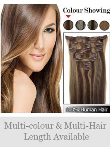 Popular Brown Straight Clip in Hair Extensions