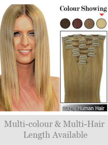 Exquisite Blonde Straight Clip in Hair Extensions