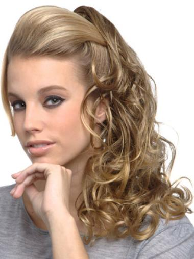 Top Blonde Curly Long Clip in Hairpieces