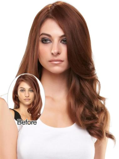 Sleek Auburn Wavy Long Clip in Hairpieces