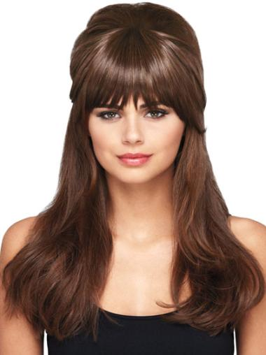 Cheap Brown Straight Short Clip in Hairpieces