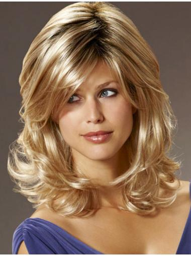 Beautiful Blonde Wavy Shoulder Length Synthetic Wigs