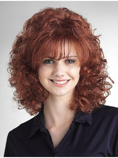 Fashion Auburn Curly Shoulder Length Wigs