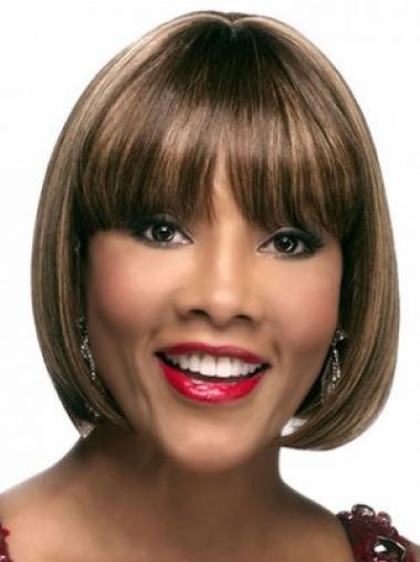 Brown Straight Synthetic Easy Medium Wigs