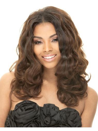 Flexibility Brown Wavy Long African American Wigs