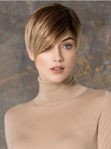 Monofilament Blonde Straight Shining Petite Wigs