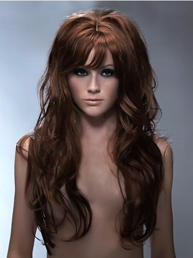 Durable Auburn Wavy Long Synthetic Wigs