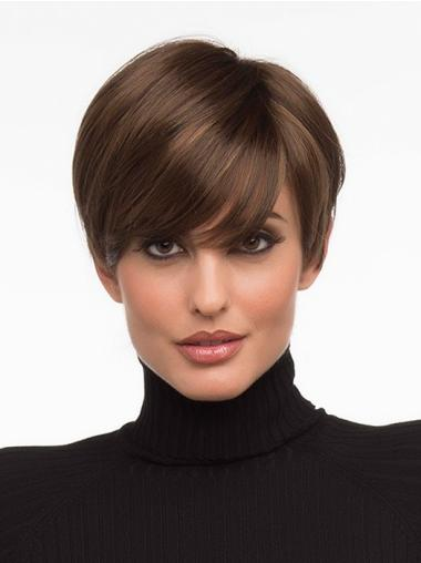 Monofilament Brown Straight Nice Short Wigs