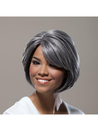 Full Lace Grey Synthetic Sassy Bob Wigs