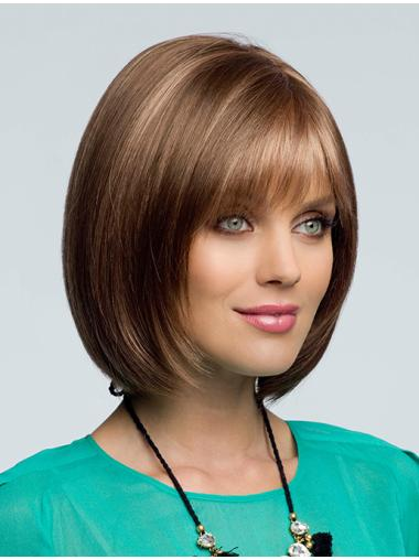 Natural Brown Wavy Chin Length Remy Human Lace Wigs