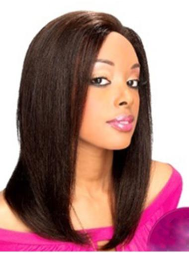 Lace Front Black Straight Comfortable Human Hair Wigs