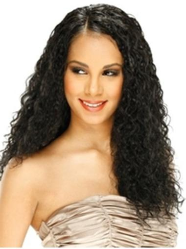 Amazing Black Curly Long Remy Human Lace Wigs