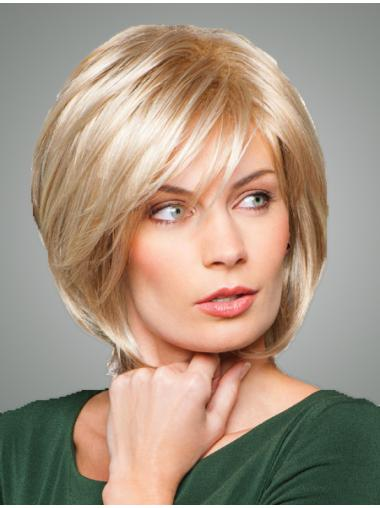 Modern Blonde Straight Chin Length Bob Wigs