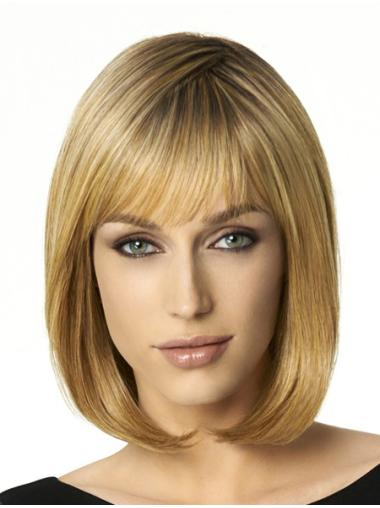Blonde Straight Synthetic Cosy Medium Wigs