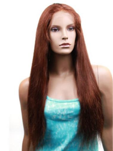 Monofilament Auburn Straight Comfortable Human Hair Lace Front Wigs
