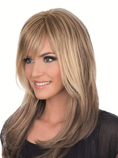 Sassy Brown Straight Long Glueless Lace Wigs