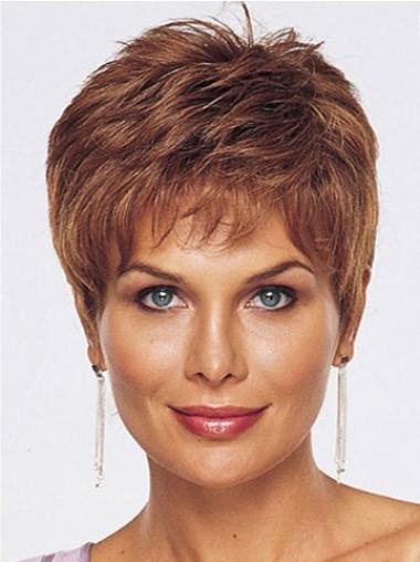 Monofilament Auburn Straight Beautiful Wigs For Cancer