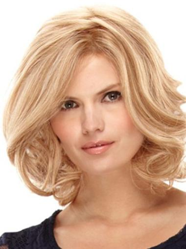 Monofilament Blonde Curly Pleasing Remy Human Lace Wigs