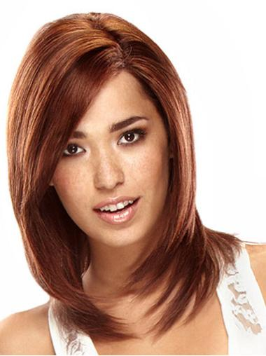 Lace Front Auburn Straight Mature Remy Human Lace Wigs