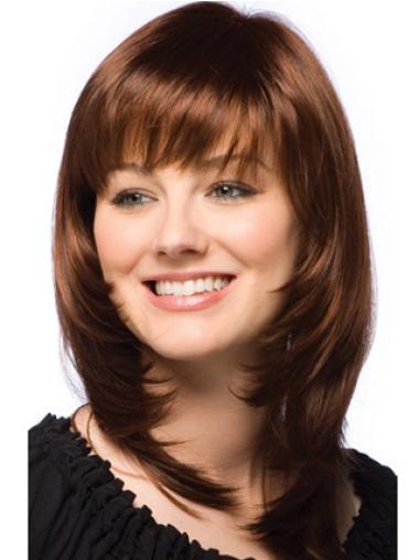 Online Auburn Straight Shoulder Length Human Hair Wigs