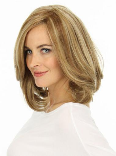 Beautiful Blonde Wavy Shoulder Length Lace Front Wigs