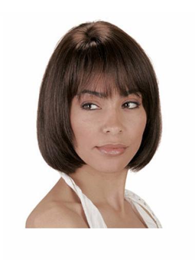 Fabulous Brown Straight Chin Length Human Hair Wigs