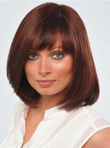 Lace Front Red Straight Fashionable Remy Human Lace Wigs