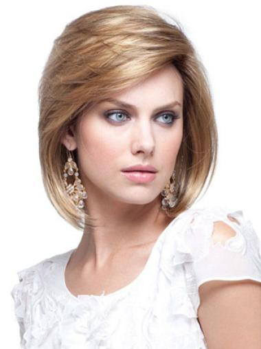 Easeful Blonde Straight Chin Length Human Hair Wigs