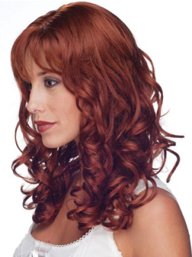 Discount Red Curly Long 100% Hand-tied Wigs
