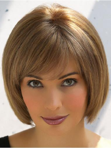 Fashion Brown Straight Short Human Hair Wigs