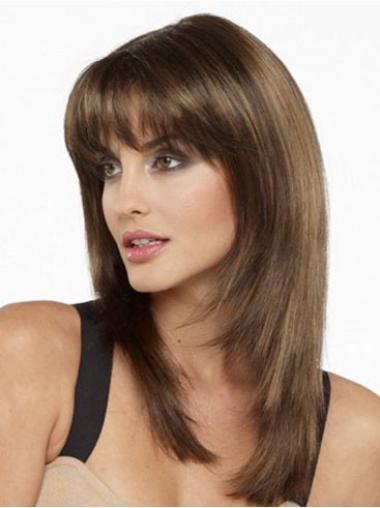 Brown Straight Pleasing Medium Wigs