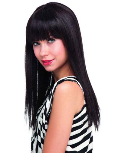 Elegant Black Straight Long Human Hair Wigs