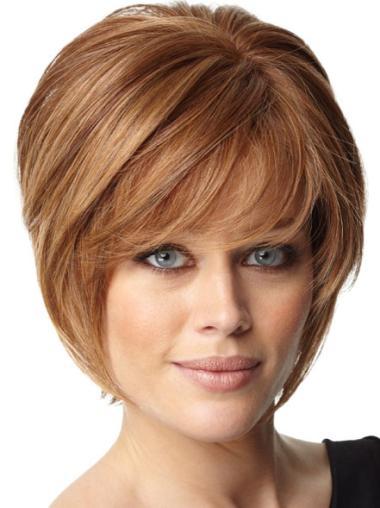 Comfortable Auburn Straight Short Celebrity Wigs