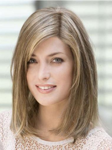 Monofilament Brown Straight Mature Human Hair Lace Front Wigs