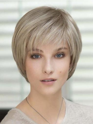Easeful Blonde Straight Short Glueless Lace Wigs