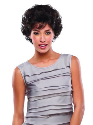 Gorgeous Brown Curly Short Human Hair Wigs