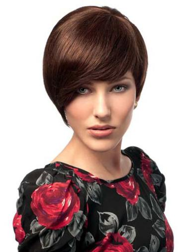High Quality Auburn Straight Short Human Hair Wigs