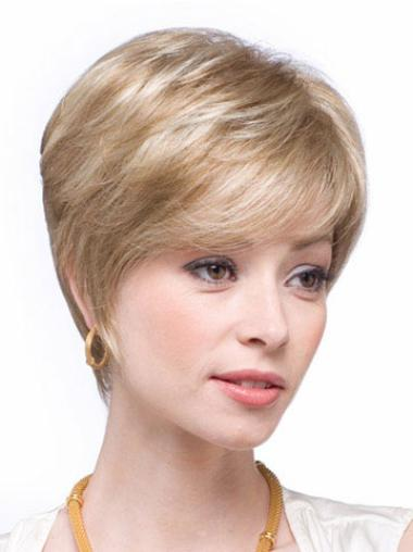 Braw Blonde Straight Short Human Hair Wigs