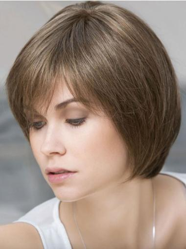 Lace Front Brown Straight Comfortable Human Hair Lace Front Wigs