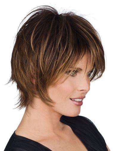 Ideal Brown Straight Short Human Hair Wigs