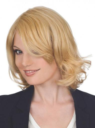 Preferential Blonde Wavy Chin Length Lace Front Wigs